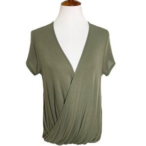 Free People Draped Olive Green Blouse